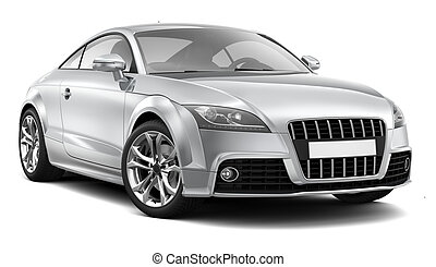 Compact sports car on a white background