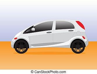 compact, stad, auto, illustratie, vector, kleine