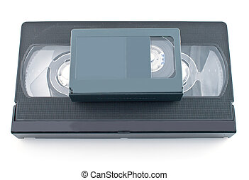 Compact videocassette and VHS isolated on white background