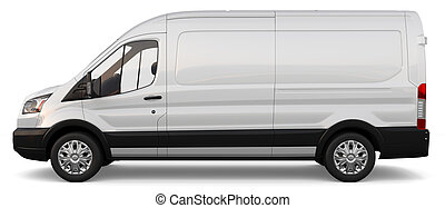 Compact white cargo on a white background