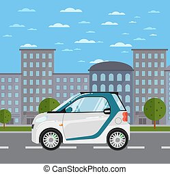 Compact white smart car on road in city