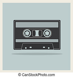 compacte cassette, retro, achtergrond, cassette, audio