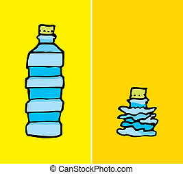 Compacted plastic bottle