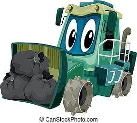 compacteur, déchets, mascotte