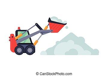 compacto, arado, máquina, vector, vehículo, ilustración, excavador, snowblower, camino, retiro de nieve, limpieza