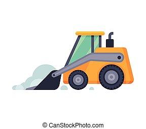 compacto, arado, máquina, vector, vehículo, ilustración, invierno, excavador, snowblower, camino, retiro de nieve, limpieza