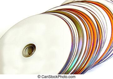compacto, arriba, colección, discos, naranja, cierre, blanco
