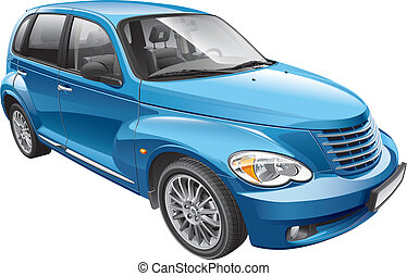 compacto, automóvel, americano, retro, denominado
