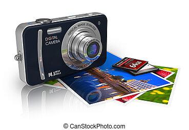compacto, câmera digital, e, fotografias