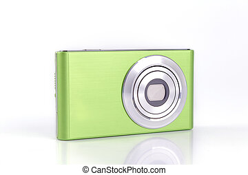 compacto, câmera digital, isolado, branco, fundo
