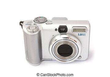 compacto, câmera digital, isolado, ligado, white., vista dianteira
