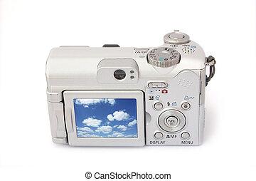 compacto, câmera digital, isolado, ligado, white., vista traseira