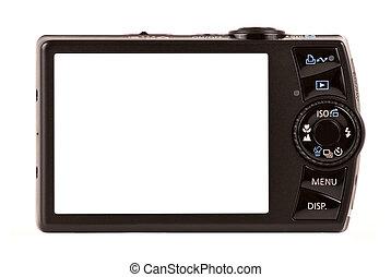 compacto, câmera digital, vista traseira, isolado, branco