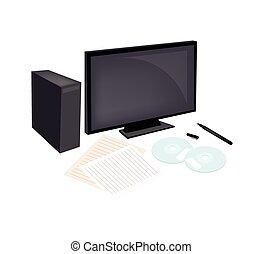 compacto, caneta, papel, computador, em branco, disco