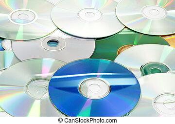 compacto, (cds), discos, pila