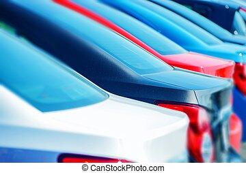 compacto, coches, en, acción