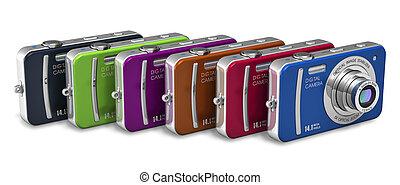 compacto, color, conjunto, camaras, digital