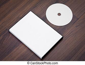 compacto, cubierta, madera, plano de fondo, blanco, disco, ...