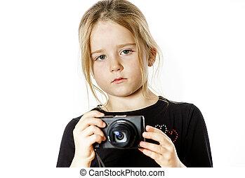 compacto, cute, pequeno, câmera, digital, menina