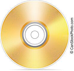 compacto, dorado, disco, illustra, vector