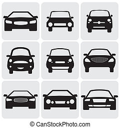 compacto, e, luxo, carro passageiro, icons(signs), frente,...