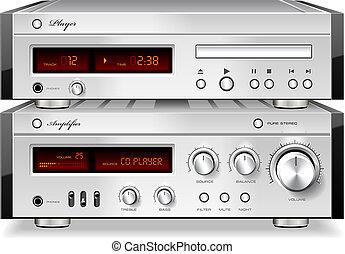 compacto, estéreo, amplificador, jogador cd, prateleira, vetorial, música, áudio, disco