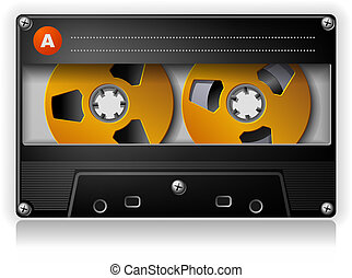 compacto, estéreo, música, cassete, áudio análogo