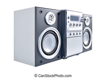 compacto, estéreo, viejo, sistema