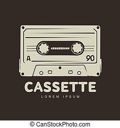 compacto, fita, cassetes, logotipo