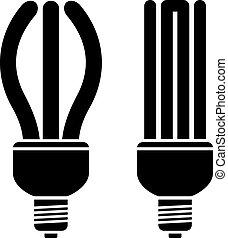 compacto, fluorescente, vetorial, bulbos