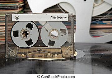compacto, llenar, cassette, otro, épocas