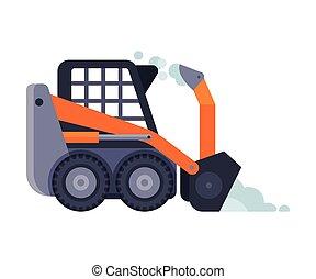 compacto, máquina, vector, vehículo, ilustración, invierno, snowblower, camino, retiro de nieve, limpieza