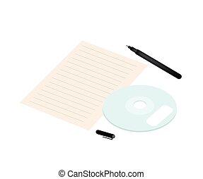 compacto, papel, disco, caneta, em branco