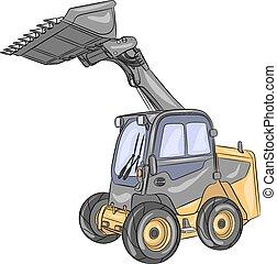 compacto, roda, loader., vetorial
