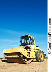 Heavy Vibration roller at compaction pavement works during road repairing