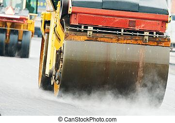 compactor roller at asphalting work - Heavy Vibration roller...