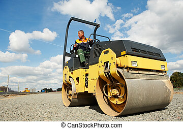 Light Vibration roller compactor at road construction and repairing asphalt pavement works