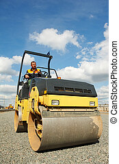 compactor roller at road work - Light Vibration roller ...
