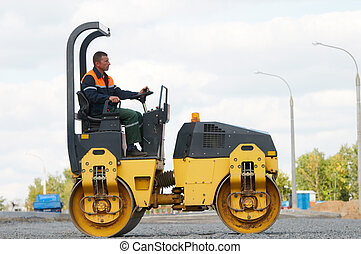 compactor roller at road work
