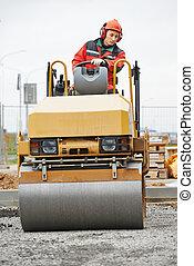 compactor, rolo, em, trabalho estrada