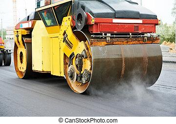 compactor, wałek, na, asphalting, praca