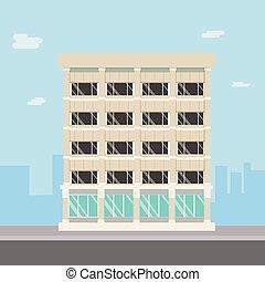 compadny, edificio, cityscape., calle, principal, diseño, ...