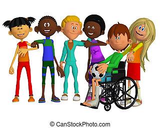 compagni classe, amici, con, uno, invalido, ragazzo