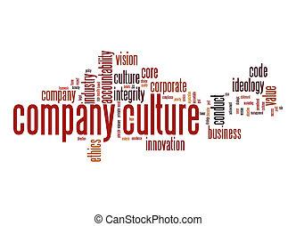 compagnie, culture, mot, nuage