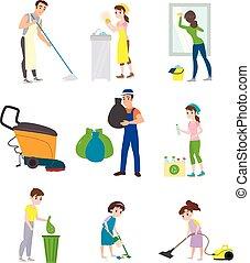 compagnie, ensemble, personnel nettoyage
