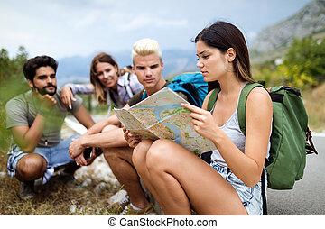 compagnie, hipster, autour de, mondiale, heureux, voyager, amis