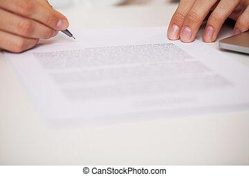 compagnie, homme, contrat, signes, bureau, bureau