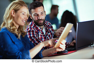 compagnie, information, programmeurs, coopérer, technologie