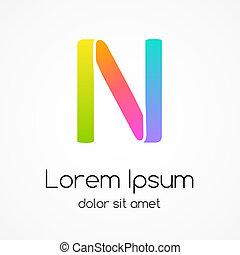 compagnie, n, vecteur, conception, lettre, logo, template.