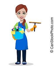 compagnie, personnel, nettoyage, uniforme